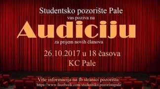 Studentsko pozorište: Audicija za prijem novih članova