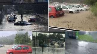 Strašno nevrijeme pogodilo Čačak, automobili pod vodom na ulicama